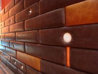 leather wall panels - could make a headboard with this ...