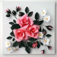 Buy 3D Origami Canvas Wall Art - Origami Rose |  ...
