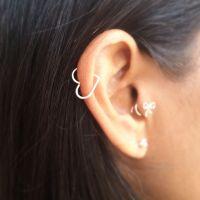Helix Earring Open Heart - Sterling Silver Gold Rose Gold ...