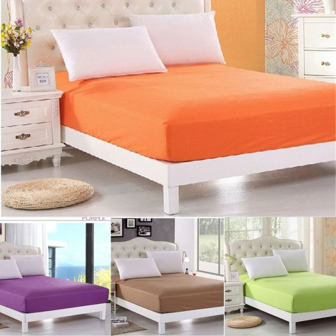 New Solid Color Ed Sheet Bedspread Bed Sheets Hotel Covers Elastic Mattress Cover Protector Queen