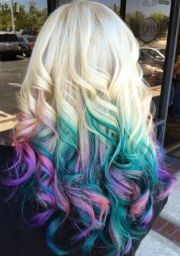 blonde teal blue pink ombre dyed