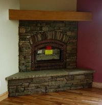 Simple design stone tile corner fireplace with inserts ...