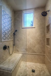 Custom Luxury Walk-in Shower with Two Shower Heads and ...