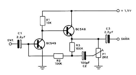 Circuito Amplificador de Áudio alimentado por uma Pilha