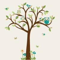 Owl Tree Wall Decal, Owl tree wall sticker, owl wall decal ...