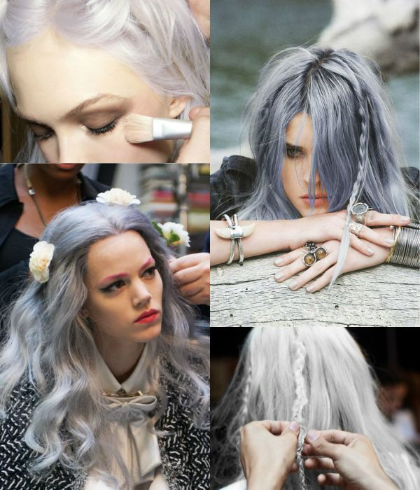 Silberne Lange Haare Frisuren Hair Pinterest Echthaar
