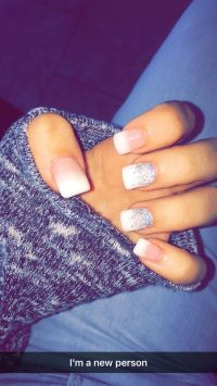 Glitter, ombr, acrylic nails, winter, fall, white, French ...