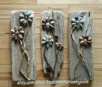 Driftwood Trio. Driftwood art, pebble art, beach decor ...