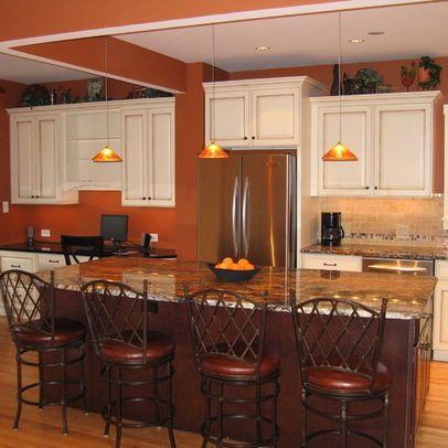 Burnt Orange Paint w white cabinets  Paint Colors