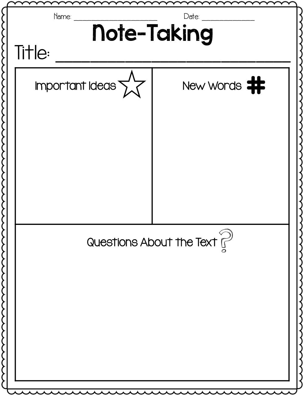 Great Freebie For Note Taking Close Reading! Close