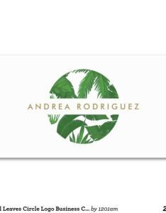 Tropical leaves circle logo business card also golden palm illustration template      blogging rh in pinterest