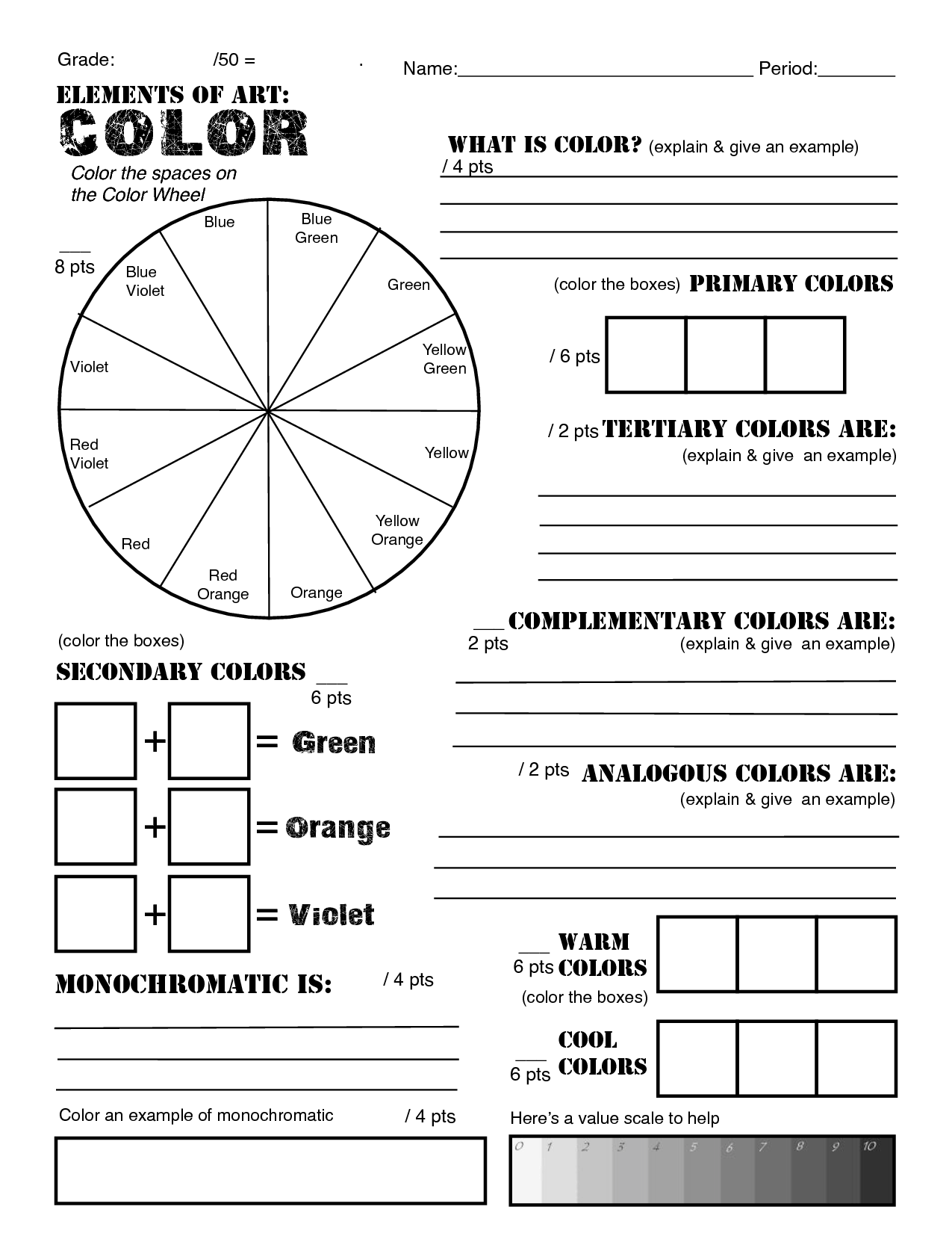 Color Mixing Tints Worksheet