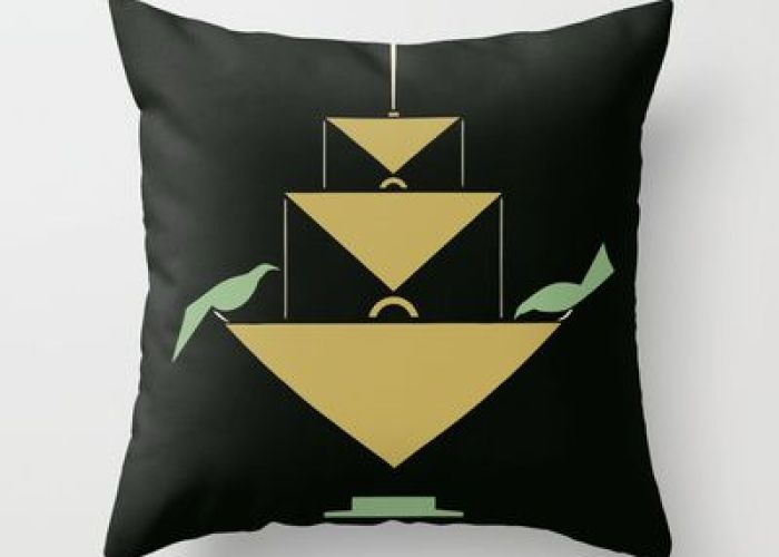 ive art feed the birds black green yellow throw pillow also