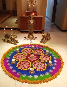 Get of beautiful rangoli designs for diwali new year and competition discover these ganesh peacocks with flowers also easy pooja room wedding deco pinterest rh