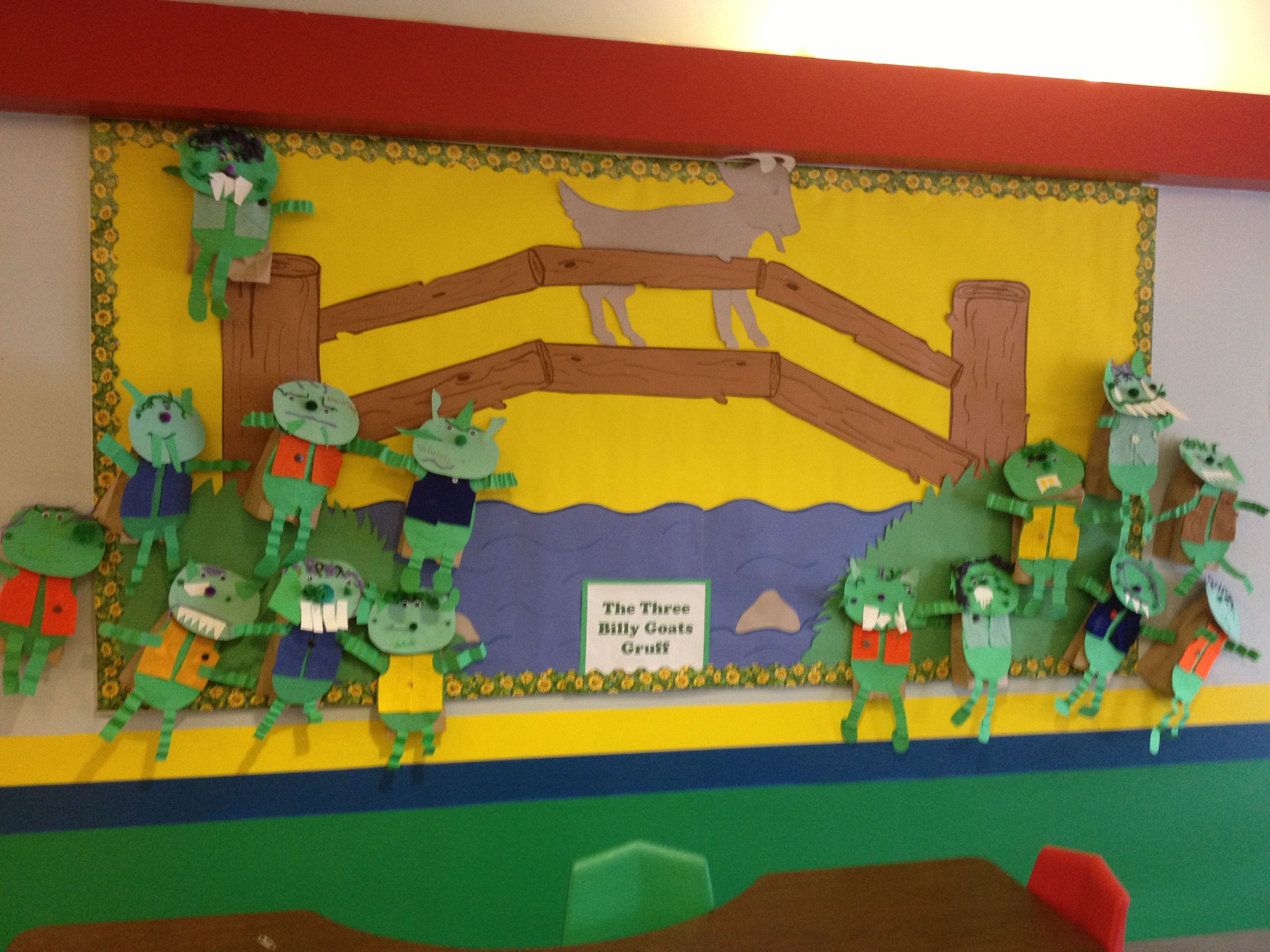Bulletin Board For Three Billy Goats Gruff The Students Made Paper Bag Puppets Of Trolls