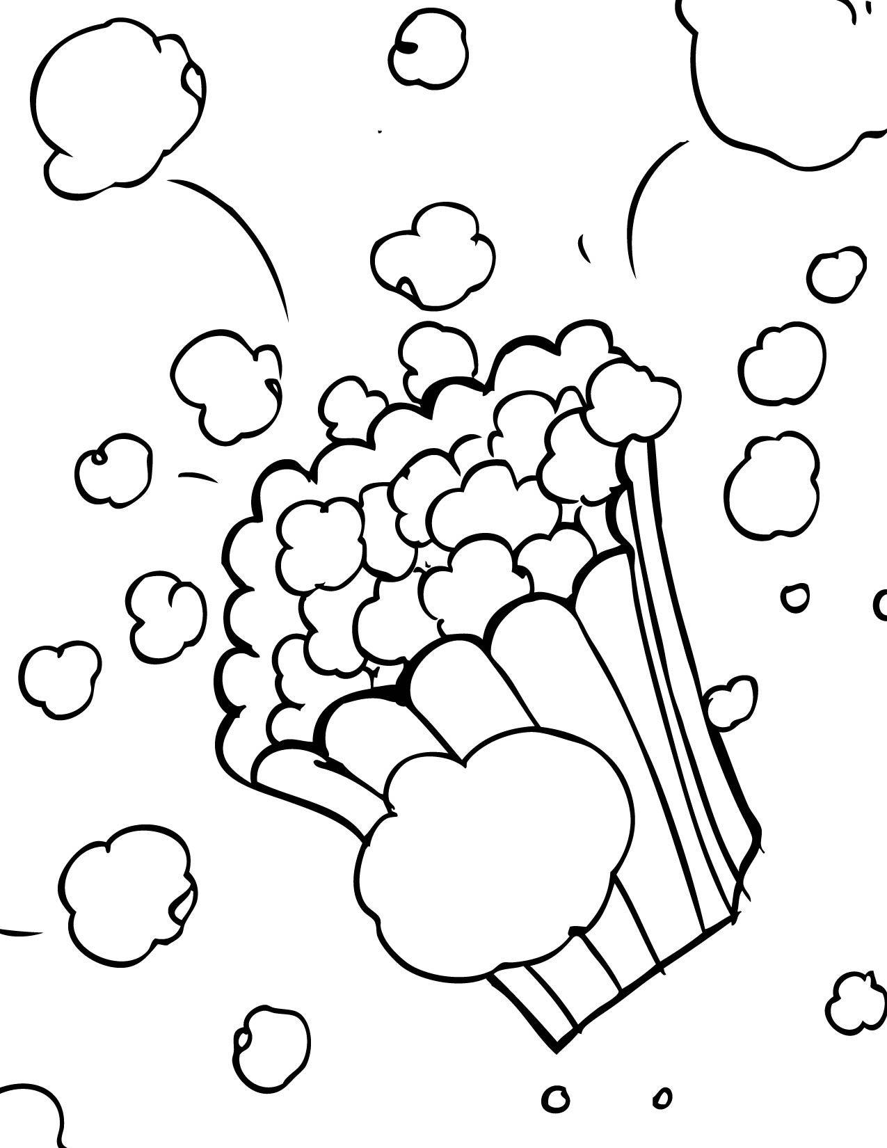 Popcorn Color Page Letter P Week Preschool Kindergarten