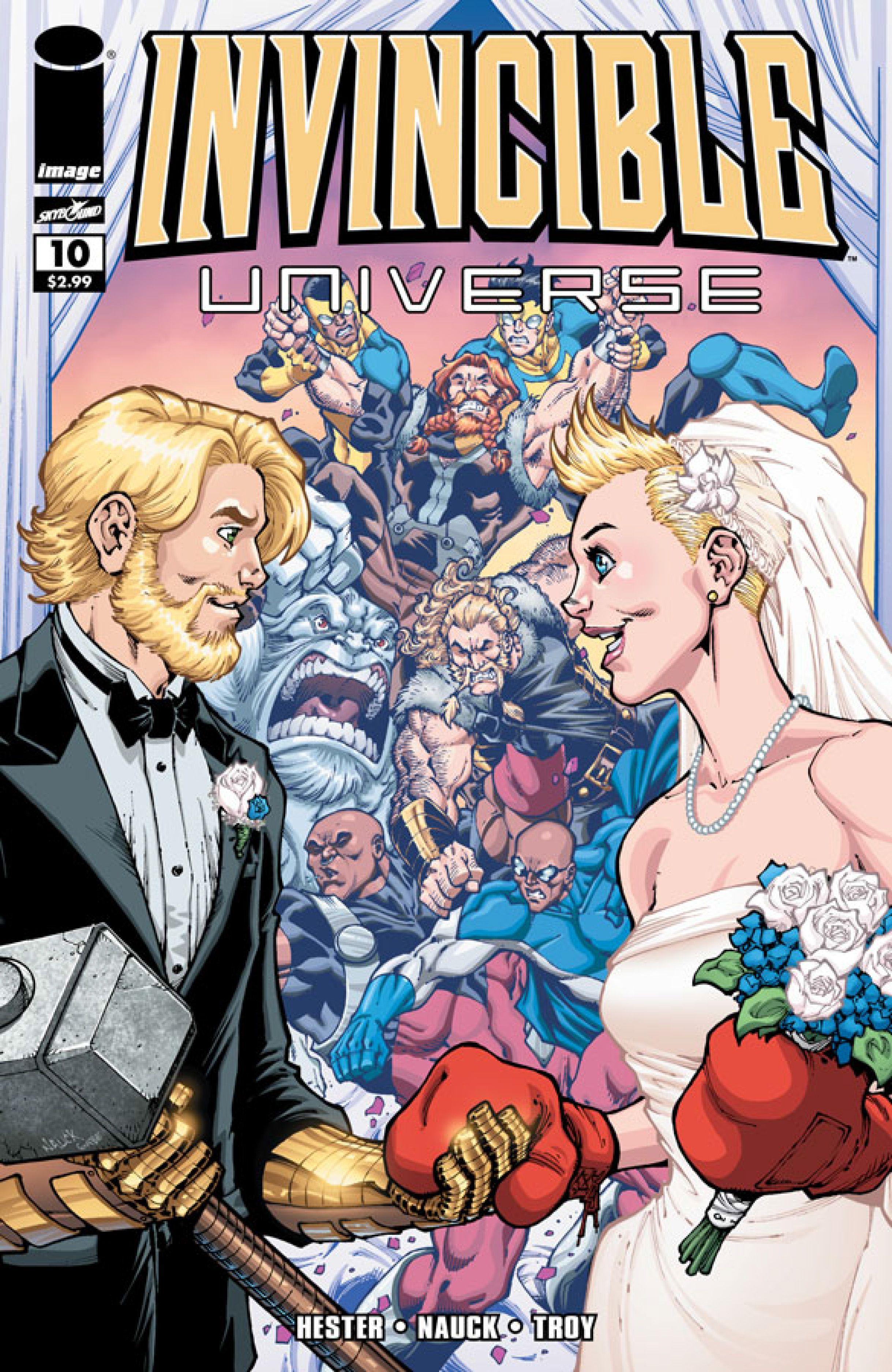 thor comic cover wedding  invincibleuniverse10coverjpg  superhero table ideas  Pinterest