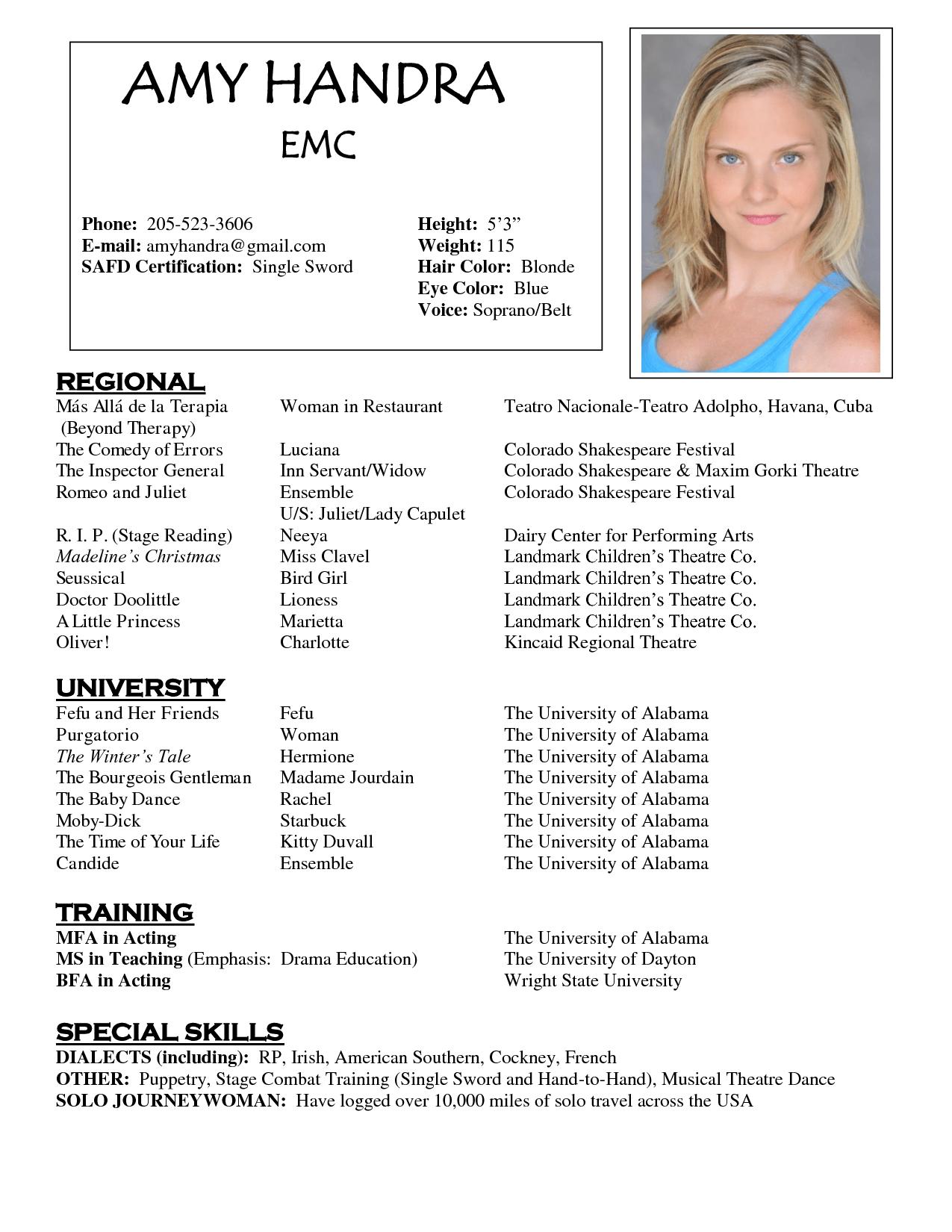Theatre Resume Examples