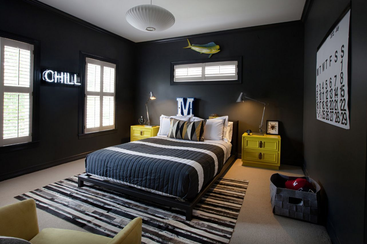 Mesmerizing black cool bedroom ideas for guys with yellow wooden also eye catching wall decor teen boy bedrooms girl rh pinterest