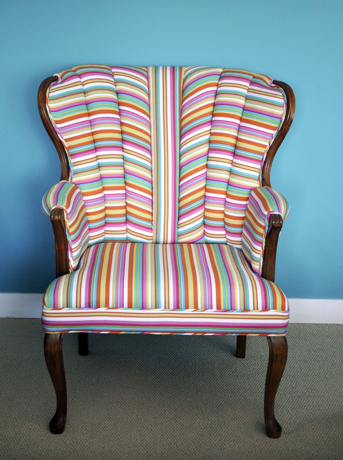 striped wingback chair stacking outdoor chairs vintage modern candy stripe upholstered sittin