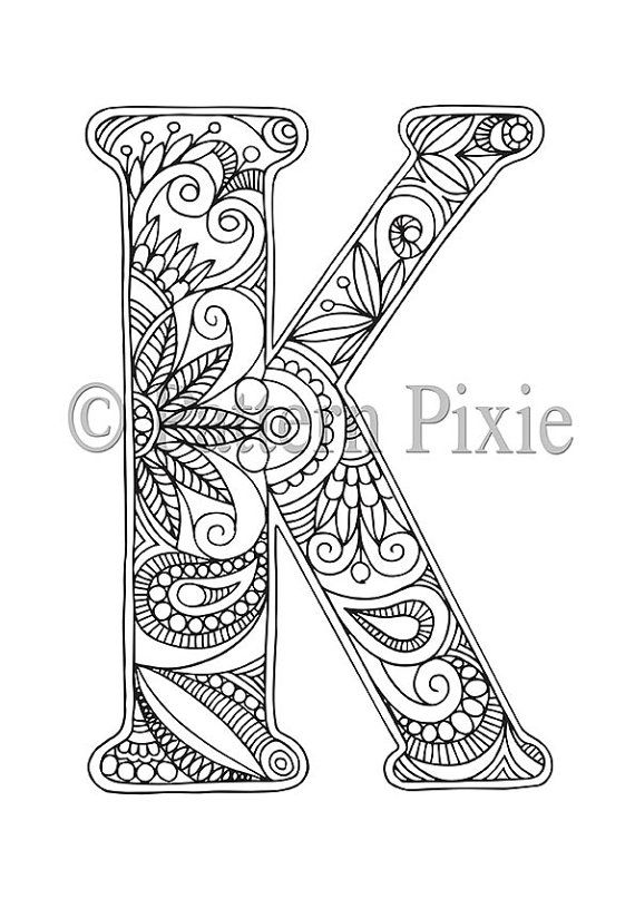 Free Adult Coloring Pages Letter K Coloring Pages