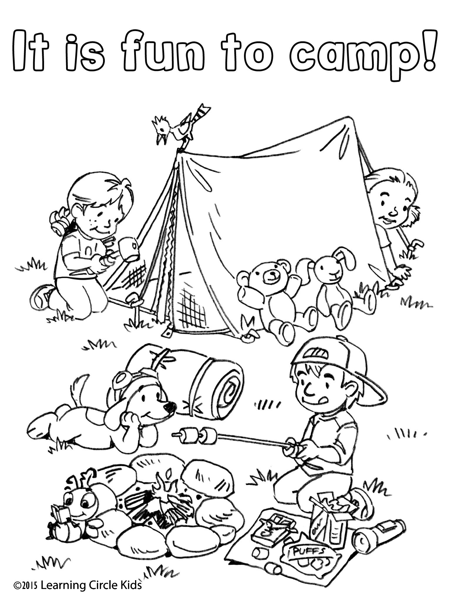 Free coloring and reading page. Summer Fun! Camping with