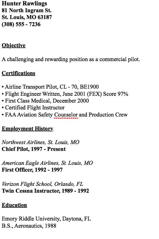 Example Of Chief Pilot Resume Resumesdesign Com Example
