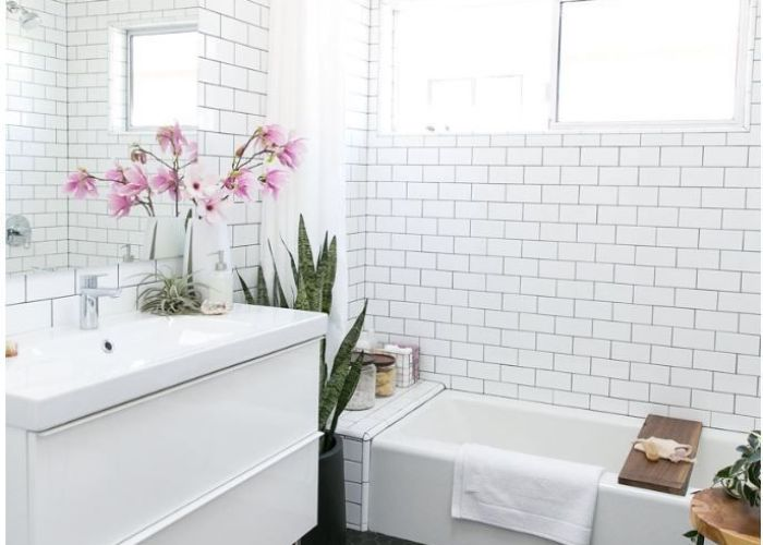 Relaxing bathroom with white subway tile black hex floor gorgeous and modern design also hexagon centsational girl more abode