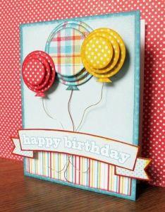 Birthday Card Like The Layered Balloon Idea Also Cumpleanos Tarjetas Birthdays Cards And Ideas Rh