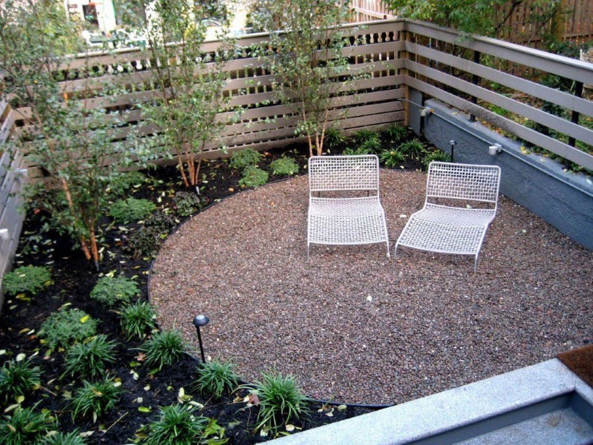 Comfortable White Chaise Lounge In Small Backyard Idea Feat Gravel