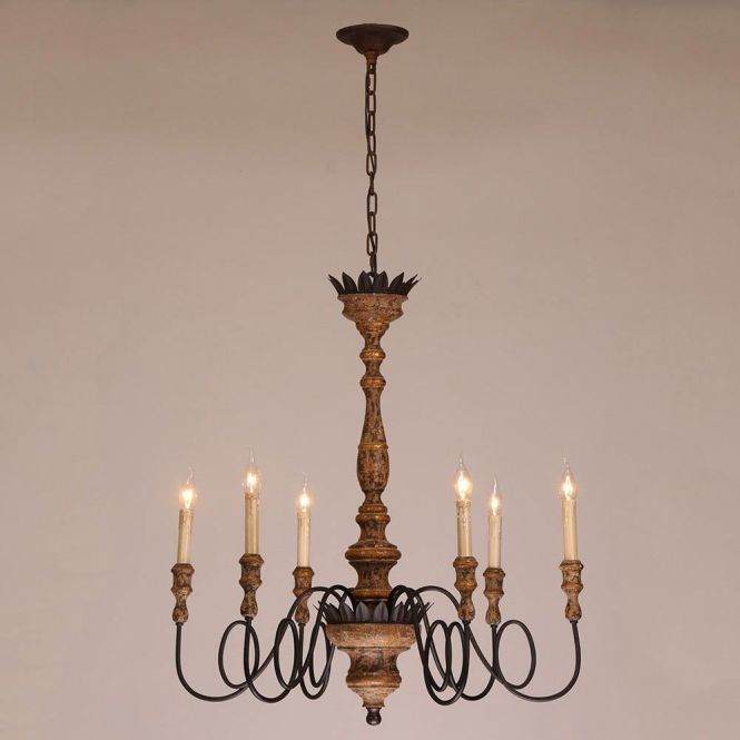 Antique 6 Light Candelabra Rust Metal Wooden Chandelier In Distressed Finish Chandeliers Ceiling
