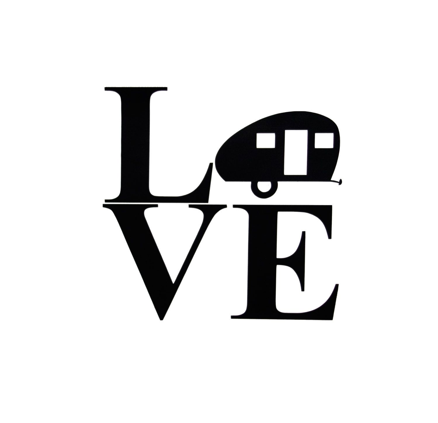 Teardrop Camper Silhouette Love Vinyl Sign Sticker Can