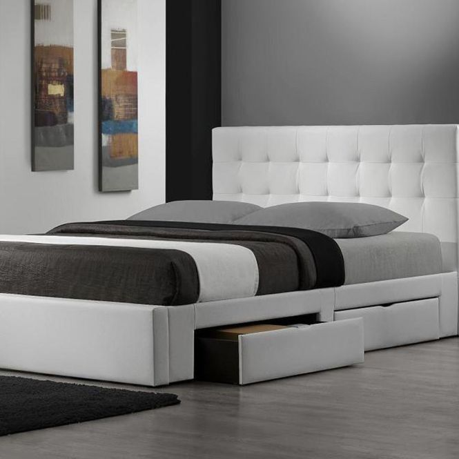 Queen Size Bed With White Leather Headboard And There Are Storage Bellow