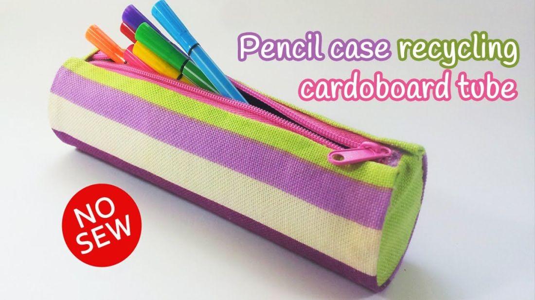 Diy crafts pencil case recycling cardboard tube innova