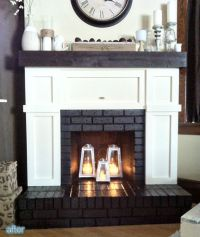 Fireplace makeover, covered up most of the brick with ...