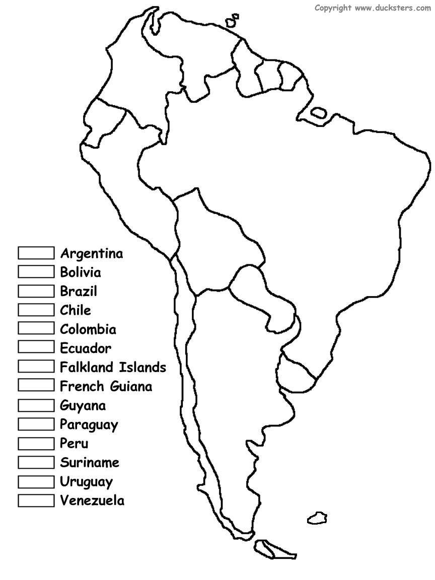 South America Coloring Map of countries- maybe use for jr