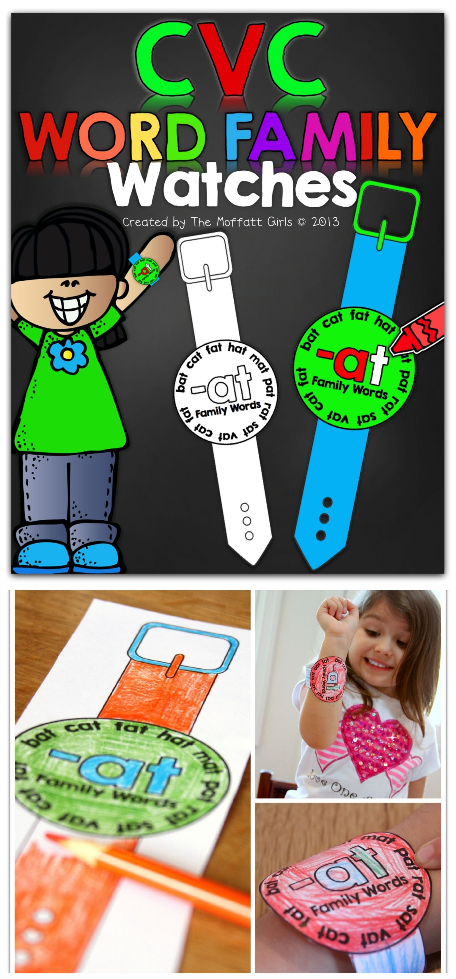 Cvc Word Family Watches Wearable Words Watches That Work