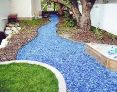 Recycled Glass Mulch Mixed With Concrete Or Epoxy To Create Long
