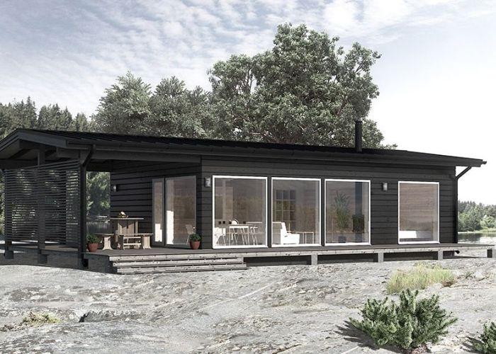 Modern scandinavian wooden house in seaside also timberlife forest