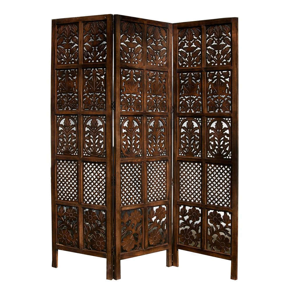 Hand Carved Patterned Mango Wood Room Divider Three Panel