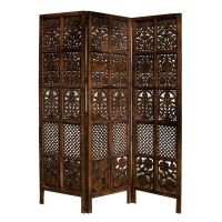 Hand Carved Patterned Mango Wood Room Divider Three Panel ...