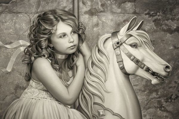 Beautiful Pencil Drawing Of Girl Carousel Horse Artist Undetermined Carousels