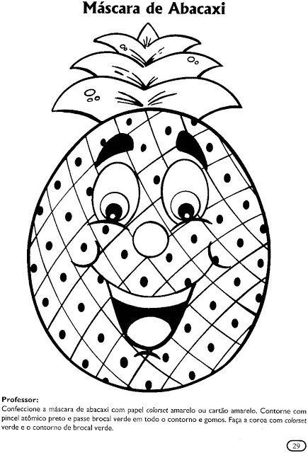 Atividades para colorir infantil: Máscaras de frutas