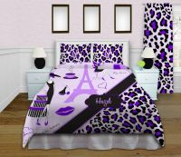 Paris themed bedding sets, Eiffel Tower home decor, Purple ...