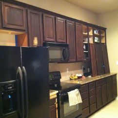 Staining Kitchen Cabinets Brick Backsplash In Diy Distressed With Gel Stain Is