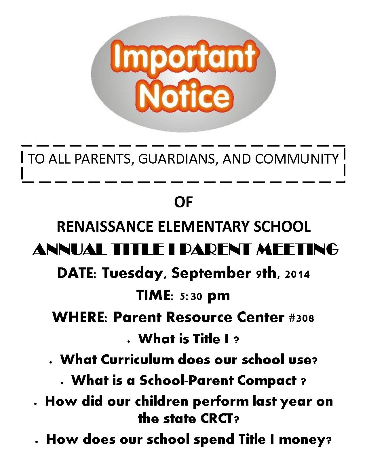 Annual Title I Parent Meeting Flyer