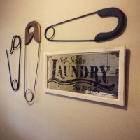 laundry room wall decor large safety pins and mirror ...