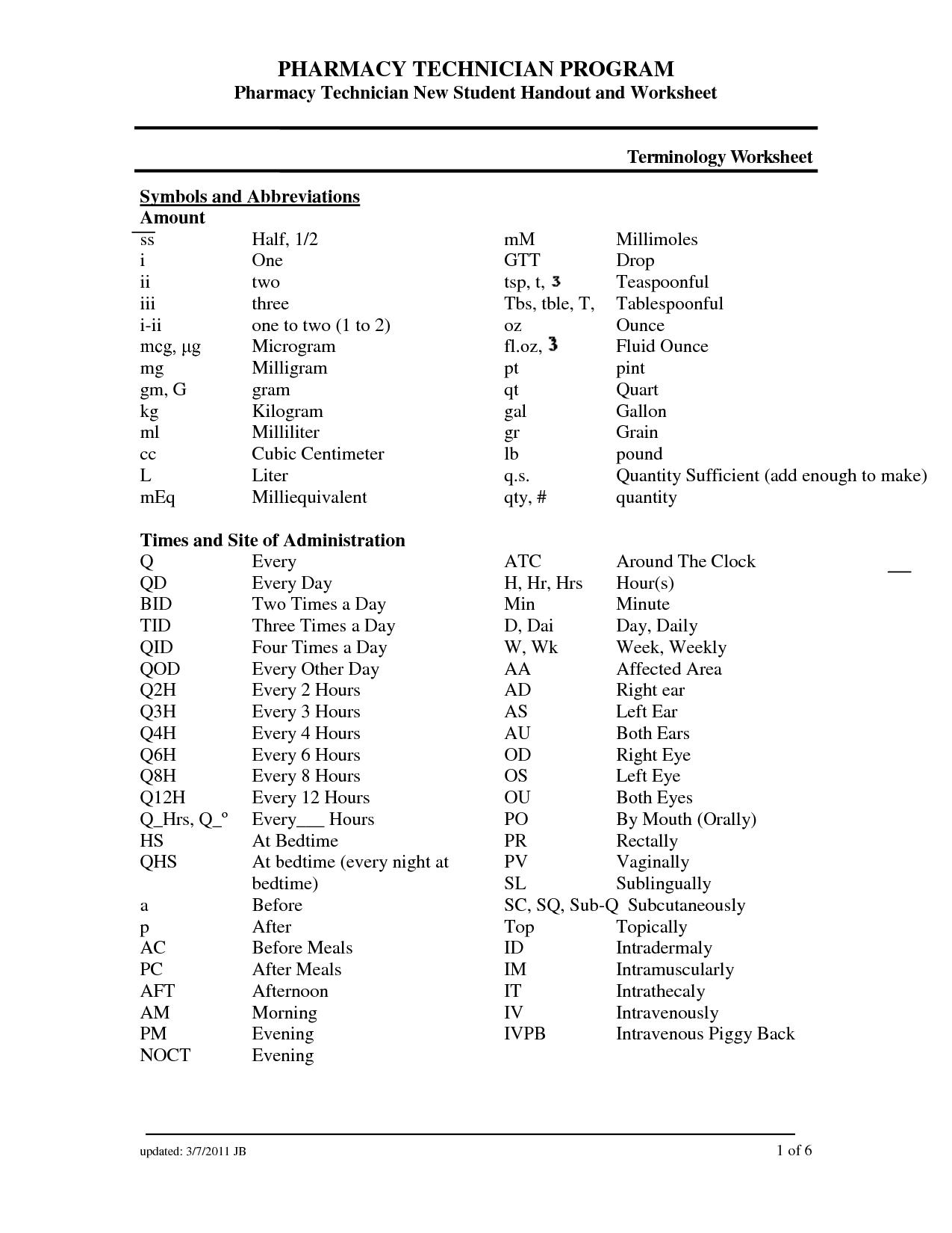Medical Abbreviations And Symbols Otitis Media Worksheet