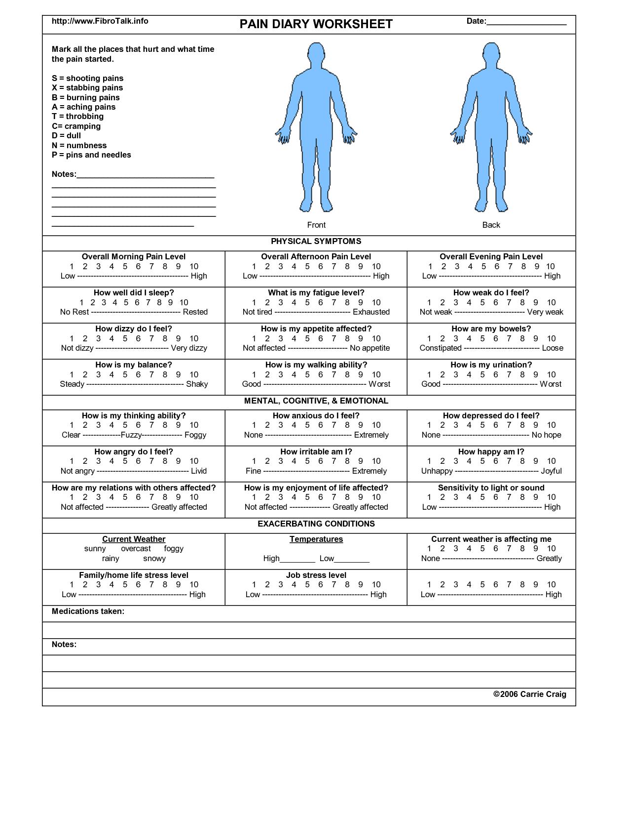 Daily Pain Diary Worksheet