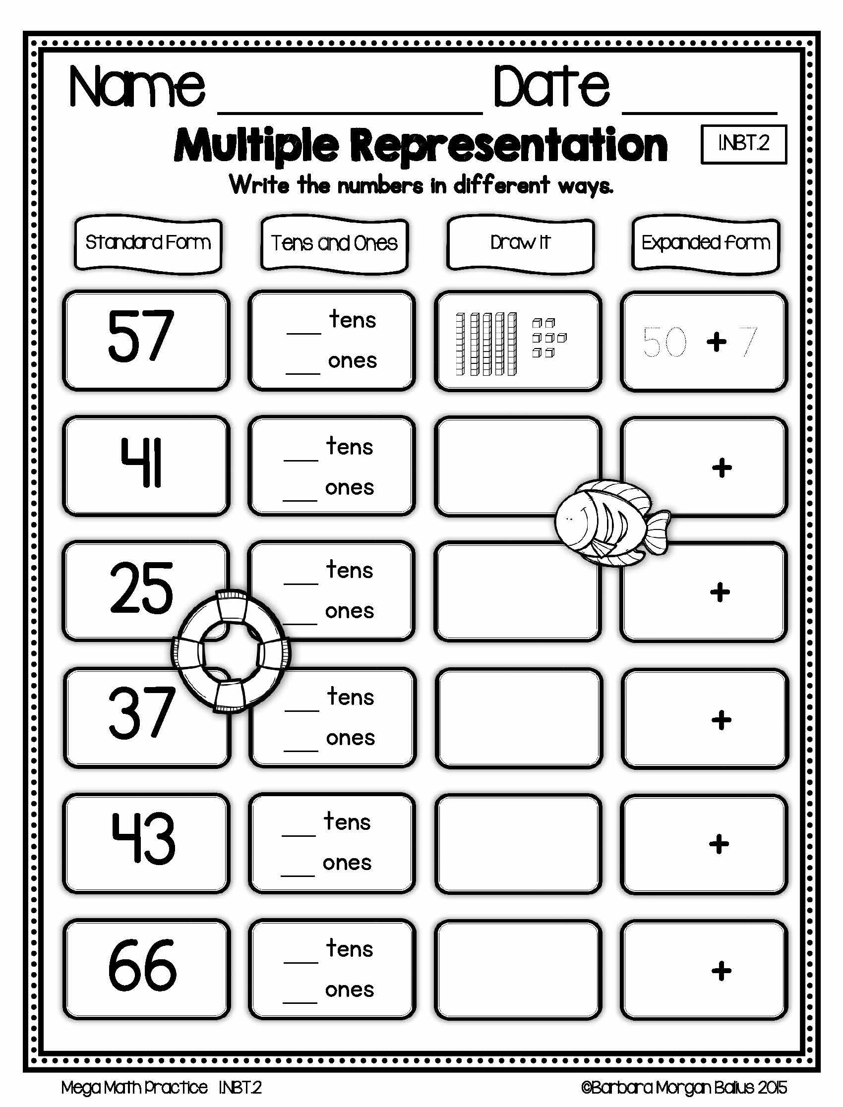 First Grade Math Understanding Place Value Mega Practice 1 Nbt 2